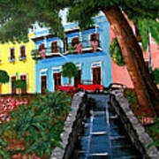 Street Hill In Old San Juan Poster by Luis F Rodriguez