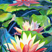 Styalized Lily Pads 3 Poster by Kathy Braud
