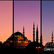 Suleymaniye Sundown Triptych 02 Poster by Rick Piper Photography