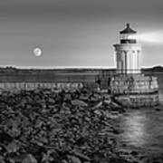 Sunrise At Bug Light Bw Poster by Susan Candelario