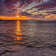 Sunrise Drama Acadia National Park Poster by Jeff Sinon