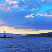Sunrise On Cayuga Lake Ithaca New York Panoramic Photography Poster by Paul Ge