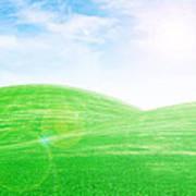 Sunrise Over Green Grass Hills Poster by Thanapol Kuptanisakorn