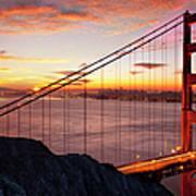 Sunrise Over The Golden Gate Bridge Poster by Brian Jannsen