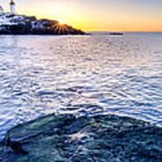 Sunrise Starburst Over Nubble Lighthouse  Poster by Thomas Schoeller