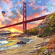 Sunset At Golden Gate Poster by Dominic Davison