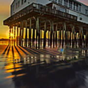 Sunset At The Pier Poster by Susan Candelario