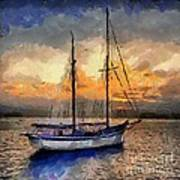 Sunset In The Bay Poster by Dragica  Micki Fortuna