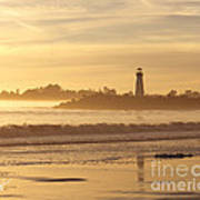 Sunset On The Lighthouse In Santa Cruz Harbor Poster by Artist and Photographer Laura Wrede