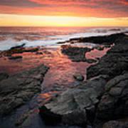 Sunset Over Rocky Coastline Poster by Johan Swanepoel