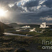 Sunset Over The Firehole River - Yellowstone Poster by Sandra Bronstein