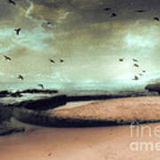 Surreal Dreamy Ocean Beach Birds Sky Nature Poster by Kathy Fornal