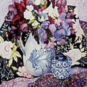 Sweet Peas In A Blue And White Jug With Blue And White Pot And Textiles  Poster by Joan Thewsey