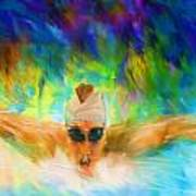 Swimming Fast Poster by Lourry Legarde
