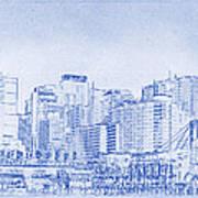 Sydney's Cockle Bay Blueprint Poster by Kaleidoscopik Photography
