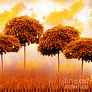 Tangerine Trees And Marmalade Skies Poster by Mo T