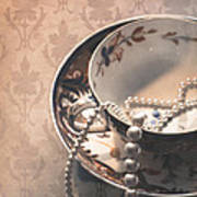 Teacup And Pearls Poster by Jan Bickerton