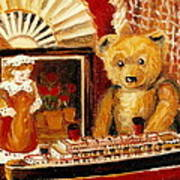 Teddy Bear With Tugboat Doll And Fan Childhood Memories Old Toys And Collectibles Nostalgic Scenes  Poster by Carole Spandau