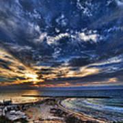Tel Aviv Sunset At Hilton Beach Poster by Ron Shoshani