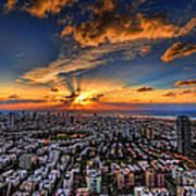 Tel Aviv Sunset Time Poster by Ron Shoshani
