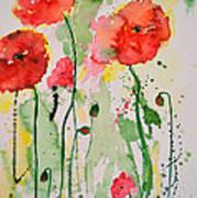 Tender Poppies - Flower Poster by Ismeta Gruenwald