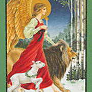 The Angel The Lion And The Lamb Poster by Lynn Bywaters
