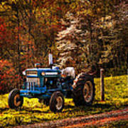 The Autumn Blues Poster by Debra and Dave Vanderlaan
