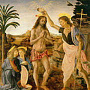 The Baptism Of Christ By John The Baptist Poster by Leonardo da Vinci