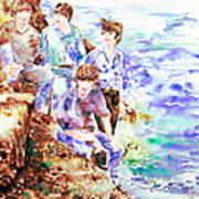 The Beatles At The Sea Watercolor Portrait Poster by Fabrizio Cassetta