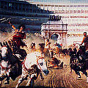 The Chariot Race 1882 Poster by Li   van Saathoff