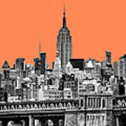 The Empire State Building Pantone Nectarine Poster by John Farnan