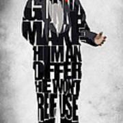 The Godfather Inspired Don Vito Corleone Typography Artwork Poster by Ayse Deniz