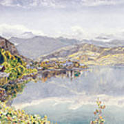 The Lake Of Lucerne, Mount Pilatus Poster by John William Inchbold