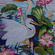 The Lotus Pond Hand Embroidery Poster by To-Tam Gerwe