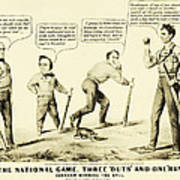 The National Game - Abraham Lincoln Plays Baseball Poster by Digital Reproductions