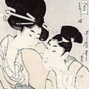 The Pleasure Of Conversation Poster by Kitagawa Utamaro