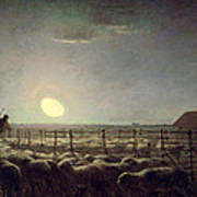 The Sheepfold   Moonlight Poster by Jean Francois Millet