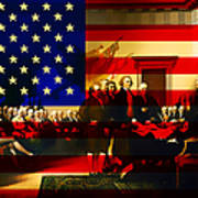 The Signing Of The United States Declaration Of Independence And Old Glory 20131220 Poster by Wingsdomain Art and Photography