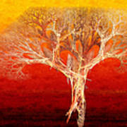 The Tree In Fall At Sunset - Painterly - Abstract - Fractal Art Poster by Andee Design
