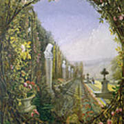 The Trellis Window Trengtham Hall Gardens Poster by E Adveno Brooke
