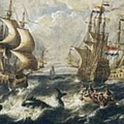 The Whale Fishing. Oil On Canvas Poster by Everett