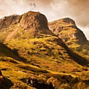 Three Sisters. Glencoe. Scotland Poster by Jenny Rainbow