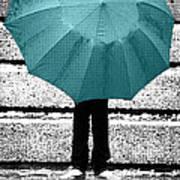 Tiffany Blue Umbrella Poster by Lisa Knechtel