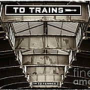 To Trains Poster by John Rizzuto
