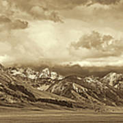 Tobacco Root Mountain Range Montana Sepia Poster by Jennie Marie Schell