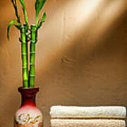 Towels And Bamboo Poster by Olivier Le Queinec