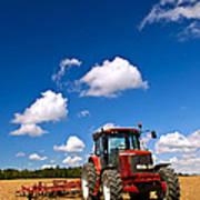 Tractor In Plowed Field Poster by Elena Elisseeva