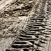 Tractor Tracks In Dry Mud Poster by Olivier Le Queinec
