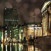 Trafalgar Square Rain Poster by Heidi Hermes