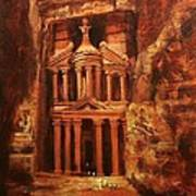 Treasury Of Petra Poster by Tom Shropshire